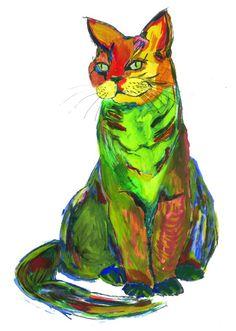 Cat.Watercolor illustration art . Rainbow. Artist: Maryna Kovalchuk  instagram.com/dyvokolir