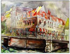 "Victor Shmokhin ""Голландия. Амстердам. ""Кафе ""HANS en GRIETJE""  1994г.Бумага /акварель. 36,0х48,0  (№184)"