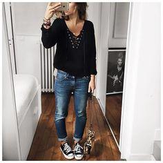 Tenue d'hier en entier! #latergram #saturdayoutfit • Knit #thekooples (available at @cyrielleforkure) • Jean #celine (old) • Sneakers #converse • Bag #jeromedreyfuss (on @vestiaireco) ...