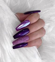 60 Trendy Sparkle Acrylic Coffin Nails Design With Glitters Inspiration Purple Chrome Nails, Purple Acrylic Nails, Purple Nail Art, Purple Nail Designs, Summer Acrylic Nails, Best Acrylic Nails, Nail Art Designs, Nails Design, Nails Turquoise