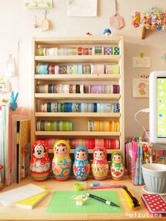 Brightly Coloured Japanese Craft and Work Space. Wish i had that collection of tape.