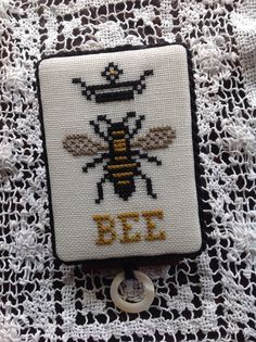 Primitive hand stitched BEE and crown thread by TheOldNeedleShop, $25.00