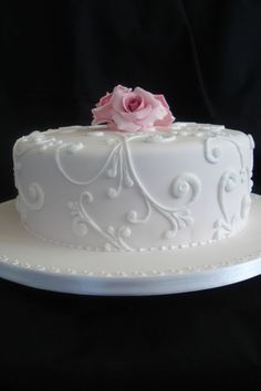 Simple Wedding Cake Buttercream With Fondant Flowers. View 4 And 5 Tier Wedding Cake Options. Sugar Flowers For Wedding . Wedding Cakes One Tier, Small Wedding Cakes, Square Wedding Cakes, Wedding Cakes With Flowers, Elegant Wedding Cakes, Elegant Cakes, Wedding Cake Toppers, Wedding Simple, 1 Layer Wedding Cake