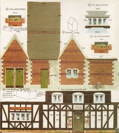 icu ~ Toys & Stuff: Kellogg's UK - Paper Village - Sheet 3 Pt 3 - The Inn & School Store Paper Doll House, Paper Houses, Box Houses, Putz Houses, Free Paper Models, Paper Structure, School Store, House Template, Cardboard Toys