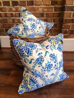 Shades of Blue, Green Floral Bird  Designer Pillow