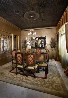 Eclectic Dining Room Design, Pictures, Remodel, Decor and Ideas - page 10 ceiling & walls Tuscan Dining Rooms, Dining Room Walls, Dining Room Design, Design Table, Living Room, Copper Interior, Interior Exterior, Interior Paint, Faux Tin Ceiling Tiles