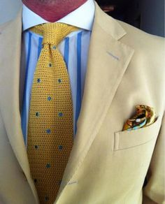 Beige Jacket Shirt With Blue And White Stripes Yellow Knit Tie Light