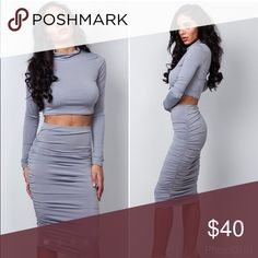 Two piece top and skirt Two piece body con top and skirt Dresses Midi