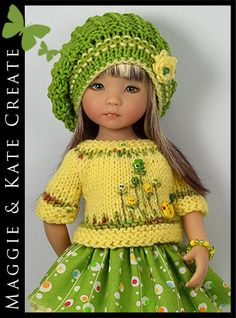 "* Green & Yellow * Outfit for Little Darlings Effner 13"" by Maggie & Kate Create"