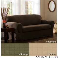 Reeves 2-piece Stretch Loveseat Slipcover | Overstock.com Shopping - Big Discounts on Maytex Loveseat Slipcovers