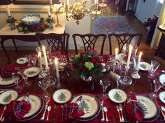 Plaid Christmas dinner table with Spode Christmas Tree dinnerware.