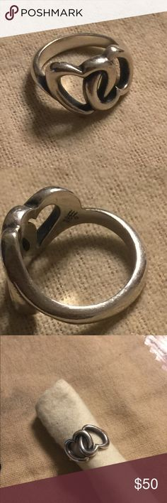 James Avery linked heart ring size 4.5 Sterling. Normal wear James Avery Jewelry Rings