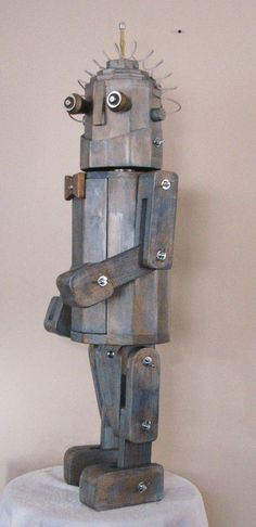 hi ho silver  wooden robot statue by spudbouy52 on Etsy, $225.00