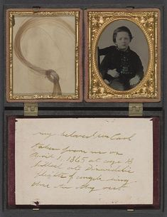 Child named Carl who became a soldier; with handwritten note and lock of hair in case