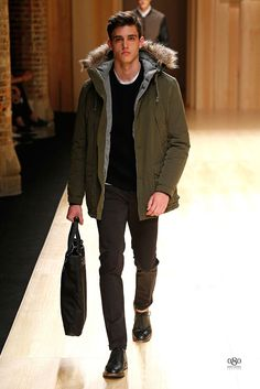 Olive Green Parka, Men's Fall Winter Fashion.