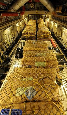 The fully loaded cargo bay of 500 tents destined for humanitarian relief in Pakistan, onboard a Royal Air Force C-17 Globemaster III aircraft.