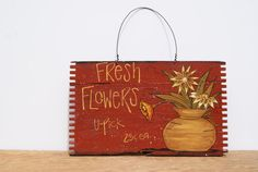 Wood Crate Sign Hand Painted Wood Sign In Red by Ramshackles