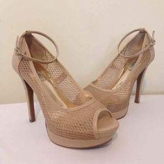 """CYBER MONDAY SALE Jlo Tan Heel Tan mesh heel with 1"""" platform, very comfortable 5"""" heel Jennifer Lopez Shoes Heels"""
