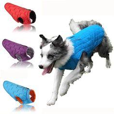 Jacheta pentru animale de companie din poliester, bumbac si nylon, cu dungi reflectorizante, calduroasa si rezistenta la apa, pentru toamna-iarna Cheap Dog Clothes, Large Dog Clothes, Puppy Clothes, Dog Vest, Dog Jacket, Dog Hoodie, Sierra Leone, Big Dogs, Large Dogs
