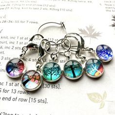 Excited to share this item from my shop: 6 Knitting stitch markers Trees cabochons