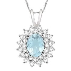 3.5CT Oval 10K White Gold Aquamarine Pendant 18'' Chain Necklace