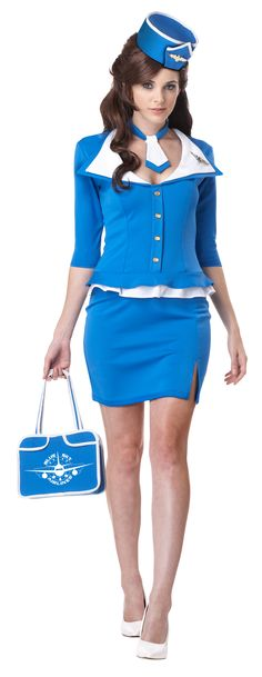 Retro Blue Stewardess Ladies Costume - The Costume Shoppe Give a throw back to the retro days with this cute and sassy flight stewardess costume.  This Stewardess costume consists off a one piece dress with three quarter length sleeves. It has a fit and flare at the waist with the appearance of a white blouse underneath. The costume includes the dress, necktie, hat, flight pins and even the cute hand bag! Take to the bright blue skies in this great costume!