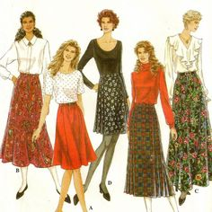 (c) late 1990s: Sz R, 14-18; Uncut; Simplicity 9150; Classic Full Skirt and Pleated Wrap Skirt; Full skirt in three lengths with gathered waistband and back zipper.  Wrap skirt in 2 lengths with waistband, pleats  opt'l kilt pin.  A I sknee length. B  E are mid-calf length; C is ankle length. D is above the knee.
