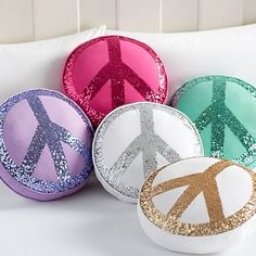 """Sparkle Peace Pillows"" (Sale Price: $29.99/ea. w/ Free Shipping; Reg. Price: $39.99) 
