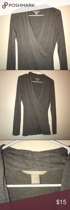 "⭐️BANANA REPUBLIC GRAY LONG SLEEVE⭐️ Very pretty ""wrap top"" with a plunging neckline. 66% Modal 29% Polyester 5% Spandex. Banana Republic Tops Blouses"