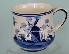 Love Blue & White....and windmills! Delft Mug handpainted blue flower & windmill