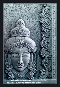 Hand carved relief mural on siporex Emboss Painting, Lotus Painting, Buddha Painting, Ceramic Painting, Ceramic Art, Kerala Mural Painting, Tanjore Painting, Mural Wall Art, Hanging Wall Art