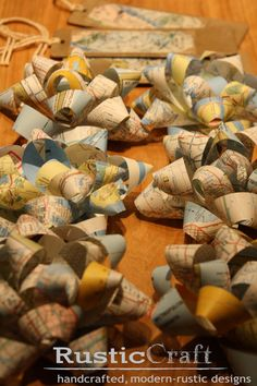 Bows made from old maps - upcycled