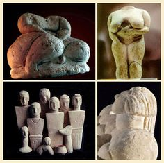 Ancient Malta Figurines Beautifully carved images of deities, fat ladies who remind us of the Venus de Willendorf, standing and seated figures were found in all the temples, some of them with sockets for changeable heads. Some are portraits whose heads incline skywards. Pottery was also found in exquisite shapes and decorated with detail.