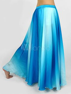 Gradual Blue Silk Womens Belly Dance Skirt I like its colors