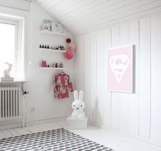 Superwoman print by MiniWilla. Scandinavian kids room. Miffy lamp. White floorboards. #bunnyinthewindow