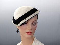 Cream Straw Tilt Hat 1940's With Black Velvet Trim Womwn's Vintage Accessories by SueEllensFlair on Etsy