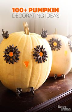 Decorate pumpkins without the mess of carving. We have tons of fun pumpkin decorating ideas that are sure to jazz up your Halloween display: http://www.bhg.com/halloween/pumpkin-decorating/?socsrc=bhgpin101713pumpkindecorating