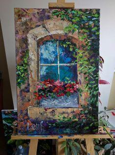 """Old old window"" Olena Leus art Olena Leus contemporary oil painting . - Art World Flower Painting Canvas, Oil Painting Flowers, Texture Painting, Canvas Artwork, Shoe Painting, China Painting, Acrylic Canvas, Diy Canvas, Art Sketches"