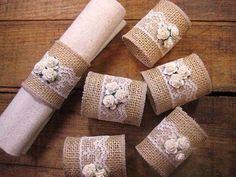 Porta-guardanapos feitos com juta e renda #maniadedecorarjuta #decoração…