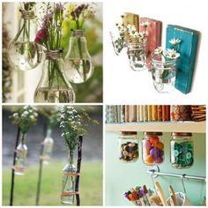 Deco with recycled glass Sweet Home, Baby Food Jars, Ideas Geniales, Ball Jars, Jar Crafts, Outdoor Art, Getting Organized, Mason Jars, Glass Jars