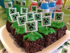 "Hello, friends! Recently, I threw a Minecraft birthday party for my son, featuring dirt and grass blocks made from crispy cereal. Here is the recipe for those treats, which were delicious, and which scored highly on the Minecraft cred scale with the kids. Enjoy! Ingredients 1/2 stick margarine Large box of chocolate Rice Krispies or … Continue reading ""How to make edible Minecraft dirt and grass blocks"""