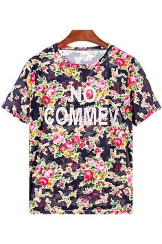 Graphic Floral Print Casual Top