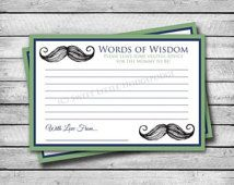 Words of Wisdom | Little Mustache | Instant Download | Baby Shower | 4x6 Size | JPG & PDF File Included
