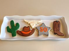 Southwest Cookie Assortment - Cactus, Cowboy Hat, Cow Skull, Sheriff's Star & Cowboy Boot Cow Skull, Cowboy Boot, Cookie Ideas, Tack, Cookie Decorating, Sugar Cookies, House Warming, Birthday Ideas, Special Occasion