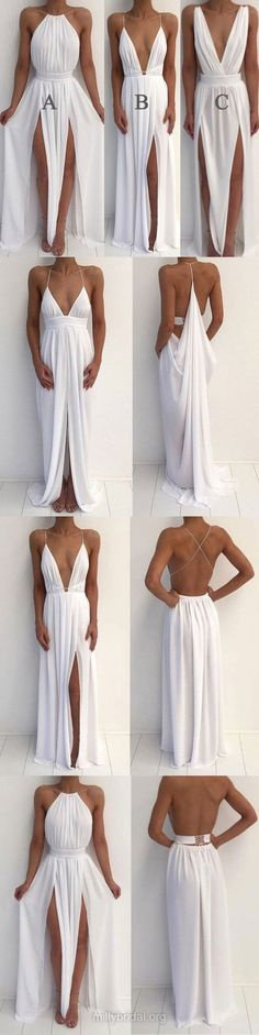 Modest Prom Dresses Long, White Prom Dresses With Slit, A Line Prom Dresses Chiffon, Halter Prom Dresses Backless Prom Dresses Long Modest, Senior Prom Dresses, Sparkly Prom Dresses, Simple Prom Dress, Prom Dresses For Teens, Perfect Prom Dress, A Line Prom Dresses, Prom Party Dresses, Formal Evening Dresses