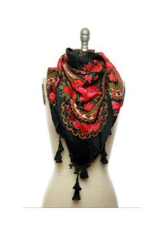 New Anthropologie Russian Scarf Pavlovo Posad Black Floral Foulard Russe | eBay
