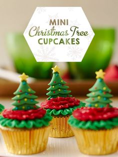 Mini Tree Royal Icing Decorations make these mini cupcakes stand out on your Christmas dessert table.