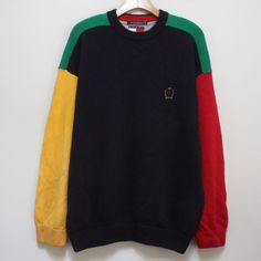 VTG 80s 90s Tommy Hilfiger Coloblock Sweater Mens L Racing Sailing Hip Hop Polo #TommyHilfiger #Crewneck