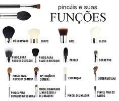 Pincéis de maquiagem e suas funções:                                                                                                                                                                                 Mais