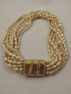 Vintage Ciner Necklace Signed Baroque Pearl 8 Strand Torsade Rhinestone Clasp by GalleryThreeSixty, $224.95